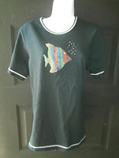 NEW NWT Quacker Factory BLACK Tee Top HEAVY Beaded School of Fish MEDIUM