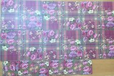 Vintage Set 6 Pink Plaid /Floral Cork Backed Placemats & Coasters