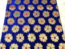 Table Runner Royal Blue with Large Gold Stamp Flower 190 cm x 41 cm