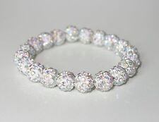 A126 - Shamballa Armband - NEU - Weiß Strass Steine Perlen Glitzer Mädchen Damen