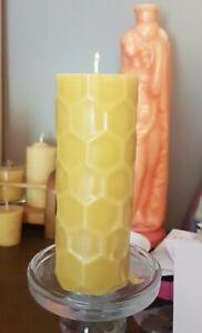 2 Australian Made local 100% Beeswax Pilar Hive Candle minimum 80 hr burn tine