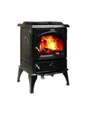 HiFlame 18.5KW Medium Cast Iron Wood Stove and Fireplace HF717U Enamel Black