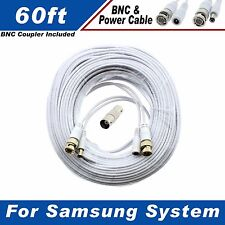 White Premium 60Ft Cctv Surveillance Cables For 8 Ch Samsung Systems Sds-P5101L