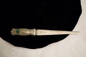 Native American Handmade Silver Tone J.Ruber GreenTurquoise Letter Opener