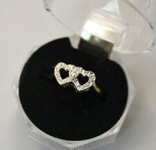 10K 2-Tone Gold 0.005ct Diamond Triple Heart Shaped Ring 2g Size 6.5