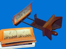 1872 Antique 3D Victorian Anthony & Co Wood Stereo Viewer Stereoscope +25 Cards