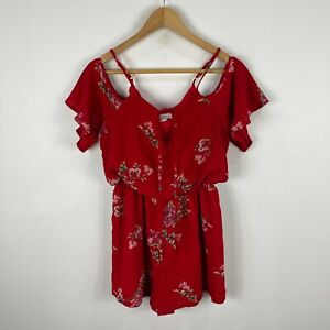 Luvalot Womens Playsuit Romper Size 10 Red Floral Elastic Waist 221.20