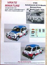 V185 AUTOBIANCHI A112 40° RALLY MOUNTED CARLO 1976 BERNARD PONS DECALS VIRATE