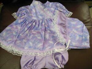 "Hand Made Dress Set Mottled Blue/Purple w/White Butterflies for 20""-22"" Doll"