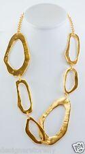 "Kenneth Jay Lane 26"" satin gold odd shape open link necklace 3793NSG"