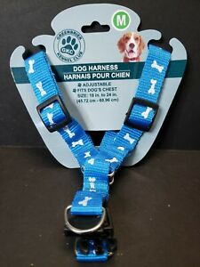 Medium Dog Pet Harness Adjustable Control Vest Dogs Blue Bone print size 18 - 24