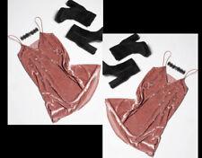 Womens Velvet Party Dress Swing Low Draped Bustline Evening Flare Crushed Skirt