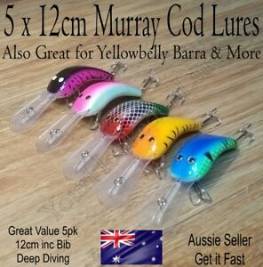 5x Murray Cod Deep Diving Fishing Lure Yellowbelly Barra Lures 12cm Plough Lures