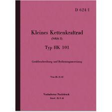 NSU catene Krad TIPO HK 101 manuale manuale manual D 624/1 SdKfz 2