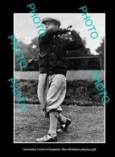 OLD LARGE HISTORIC PHOTO AUSTRALIAN CRICKET LEGEND DON BRADMAN PLAYING GOLF