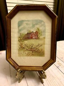 Beautiful Vintage Hand Embroidered Country Farms Red Barn Framed Picture Print
