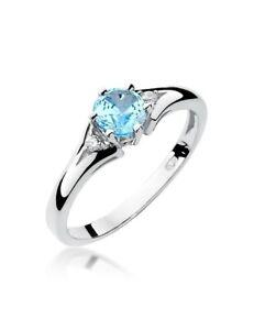 Damen Ring 585 14k Gold Weißgold echt Edelstein Diamanten Brillanten Topas