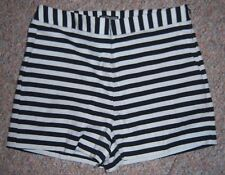 EXPRESS Black White Stripe Short Shorts with 2.5 Inseam Side Zipper Size 10 NWOT