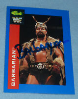The Barbarian Signed 1991 Classic WWF WWE Card #21 Powers of Pain Autograph WCW