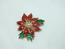 Beautiful Brooch Pin Christmas Poinsettia Gold Tone Green Red Enamel Ab Rhinesto