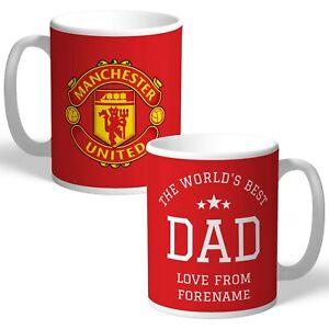 Personalised Manchester United FC World's Best Dad Mug Football Birthday Gift