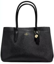 New Coach Bailey Carryall Tote in Pebble Leather Bag Black Gold snap closure