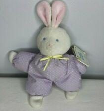 "Vtg EDEN Purple White Polka Dots TerryCloth Face Plush Bunny Rabbit 8"" w/Tags"