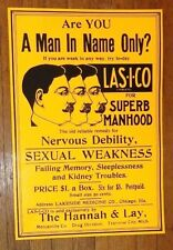 rare graphic old embossed tin sign advertising Las-I-Co sexual manhood pills