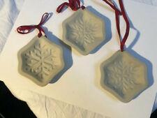 Longaberger Set 3 Cookie Molds Ceramic Snowflakes Ornaments No Boxes