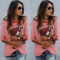 Hot Women Casual Long Sleeve Stripe T-shirt Short Sleeve Loose Tops Shirt Blouse