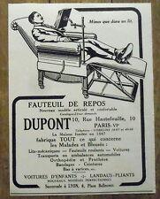 PUBLICITE VOITURE POUR MALADES DUPONT FAUTEUIL DE REPOS   advert 1924