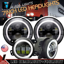 fit freightliner century class 7inch led halo headlight hi/lo & 4'' fog