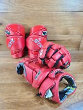 """STX Stallion 300 Red YOUTH Lacross Gloves 10"""" & K18 Elbow Pads Size Small"""