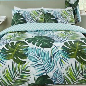 Tropical Palms Single Duvet Cover and Pillowcase Set Bed Linen Green Teal