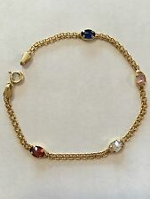 14k Yellow Gold 7 In. Bracelet With 4 Gemstones- Gorgeous