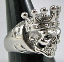 Stainless Steel King of Poker Skull Biker Ring MC Custom Sized Handmade R-66ss