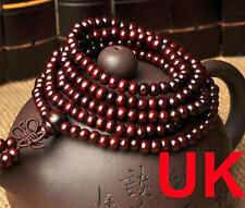 Tibetan 216 Round 6mm Darkred Sandalwood Buddhist Prayer Beads Mala Bracelet UK