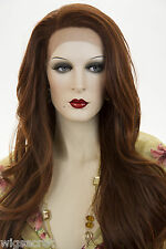 Tip Dark Auburn +Fox Red Blonde Long Lace Front Heat Friendly Wavy Straight Wigs