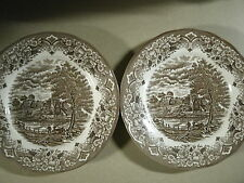 RAVENSDALE POTTERY LTD Colonial Scene Set Of 2 Large Brown Plates Dishes England
