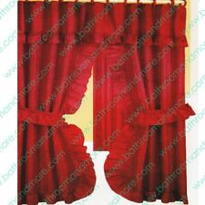 Double Swag Fabric Shower Curtain/12 Matching Hooks 2 Tie Backs/Hooks: Rusty Red
