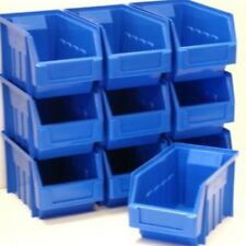10 BLUE SIZE 3 PLASTIC PARTS STORAGE STACKING BINS BOXES WAREHOUSE CLEARANCE