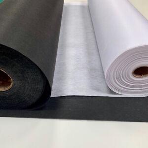 Medium Weight Iron On Fusible Non Woven White & Black Interfacing Free Post 90cm