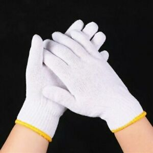 6 Pairs Safety Grip Protection Knit Cotton-Poly Gloves For Light To Medium Duty