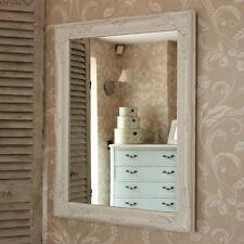 Grande Adorno Blanco Espejo de pared envejecido Francés Chic Dormitorio
