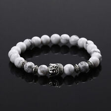 Handmade Men/Women Lava Rock Bracelet Natural Gemstone Beads Buddha Head Beaded