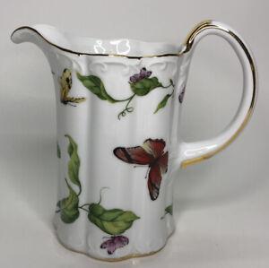 "Porcelain ""Butterfly Garden"" Pitcher Gold Trim By Godinger & Co 6"" Tall"