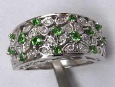 14K SNB Tsavorite Garnet & Diamond Band Ring 8.2gr Floral Petals Motif Sz 7