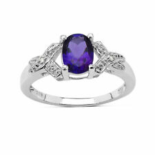 Solitaire with Accents White Gold Amethyst Fine Rings