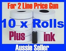 WHITE PRICE GUN TAGS LABELS 10 ROLLS FOR DOUBLE LINES PRICE GUN + INK MX6600