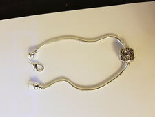 "Silver Plated Brass Bracelet 7"" with Clear ""Diamond"" Swarovski Crystal Bead"